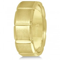 Diamond Carved Wedding Band For Men in 18k Yelllow Gold (8mm)