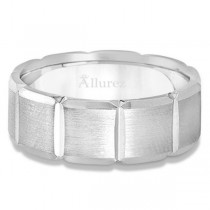 Diamond Carved Wedding Band For Men in Palladium (8mm)