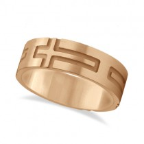 Mens Carved Wedding Ring Band Cross Shape Design 18k Rose Gold (7mm)