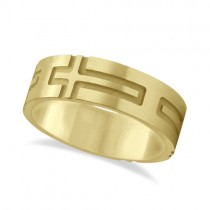 Mens Carved Wedding Ring Band Cross Shape Design 18k Yellow Gold (7mm)