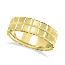 Men's Carved Square Station Wedding Ring Band 14k Yellow Gold (8mm)