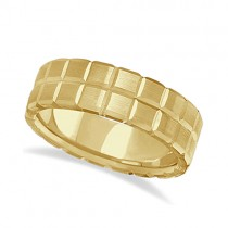 Men's Carved Square Station Wedding Ring Band 18k Yellow Gold (8mm)