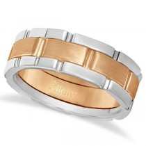 Comfort-Fit Two-Tone Wedding Band in 18k White & Rose Gold (8.5mm)