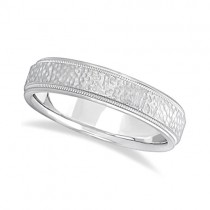 Men's Diamond Cut Inlay Carved Wedding Band 18k White Gold (5mm)