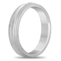 Shiny Double Milgrain Carved Wedding Ring Band 14k White Gold (4mm)