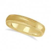 Shiny Double Milgrain Carved Wedding Ring Band 18k Yellow Gold (4mm)