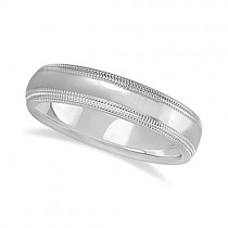 Shiny Double Milgrain Carved Wedding Ring Band Palladium (4mm)