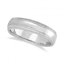 Mens Shiny Double Milgrain Wedding Ring Band 14k White Gold (5mm)