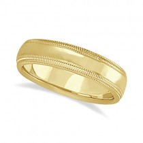 Mens Shiny Double Milgrain Wedding Ring Band 14k Yellow Gold (5mm)