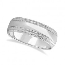 Mens Shiny Double Milgrain Wedding Ring Wide Band 18k White Gold (7mm)