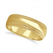 Mens Shiny Double Milgrain Wedding Ring Wide Band 18k Yellow Gold (7mm)