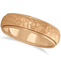 Mens Satin Hammer Finished Wedding Ring Wide Band 14k Rose Gold (6mm)