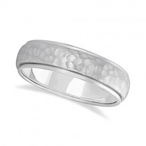 Mens Satin Hammer Finished Wedding Ring Wide Band 14k White Gold (6mm)