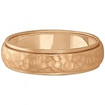 Mens Satin Hammer Finished Wedding Ring Wide Band 18k Rose Gold (6mm)