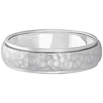Mens Satin Hammer Finished Wedding Ring Wide Band 18k White Gold (6mm)