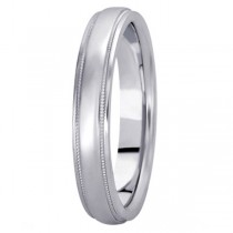 Carved Wedding Band in 14k White Gold (4mm)