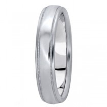 Carved Wedding Band in 18k White Gold (4mm)