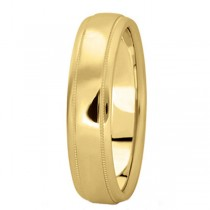 Men's Carved Wedding Band in 14k Yellow Gold (5mm)