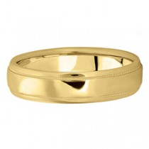 Men's Carved Wedding Band in 18k Yellow Gold (5mm)