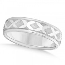 Diamond-Carved Wedding Band Plain Metal 14k White Gold 7mm
