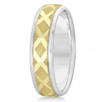 Diamond-Carved Wedding Band Plain Metal 14k Mixed Metal Gold 7mm