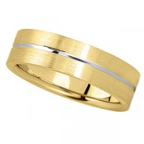 Men's Carved 14k Two-Tone Wedding Band (6mm)