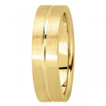Men's Carved Flat Wedding Band in 14k Yellow Gold (6mm)