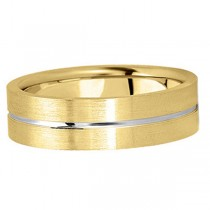 Men's Carved 18k Two-Tone Wedding Band (6mm)