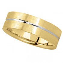 Men's Carved Two-Tone Wedding Band 14k White & Yellow Gold (7mm)