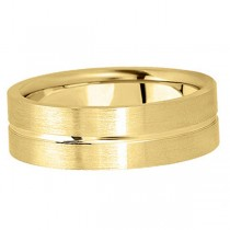 Men's Carved Flat Wedding Band in 18k Yellow Gold (7mm)