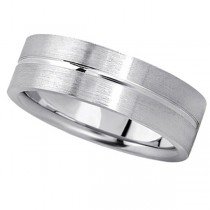 Men's Carved Flat Wedding Band in Palladium (7mm)