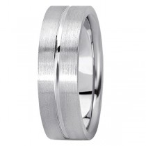 Men's Carved Flat Wedding Band in Platinum (7mm)