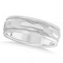 Men's Diamond-Cut Carved Wedding Band Plain Metal 14k White Gold 7mm