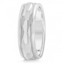 Men's Diamond-Cut Carved Wedding Band Plain Metal 14k White Gold 7mm