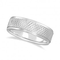 Men's Diamond Cut Inlay Carved Wedding Ring Band 18k White Gold (7mm)
