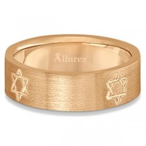 Jewish Star of David Mens Carved Wedding Ring Band 14k Rose Gold (7mm)