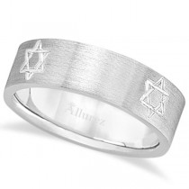 Jewish Star of David Mens Carved Wedding Ring Band 14k White Gold (7mm)