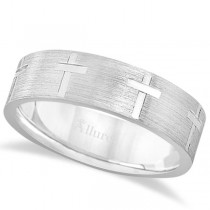 Carved Wedding Band With Crosses in 18k White Gold (7mm)