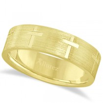 Carved Wedding Band With Crosses in 18k Yellow Gold (7mm)
