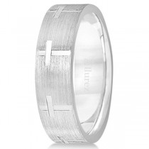Carved Wedding Band With Crosses in Platinum (7mm)