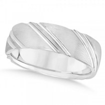 Diamond-Cut Carved Wedding Band Plain Metal 14k White Gold 6mm