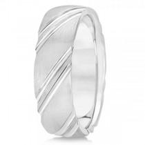 Diamond-Cut Carved Wedding Band Plain Metal 14k White Gold 6mm