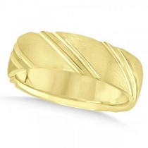 Diamond-Cut Carved Wedding Band Plain Metal 14k Yellow Gold 6mm