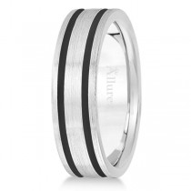Men's Diamond-Carved Satin Wedding Ring Wide Band 14k White Gold 7mm