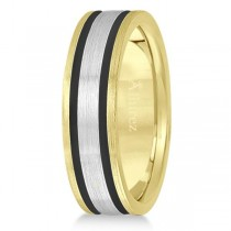 Men's Carved Satin Wedding Ring Wide Band 14k Mixed Metal Gold 7mm