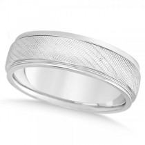 Men's Textured Inlay Wedding Ring Wide Band 14k White Gold 7mm