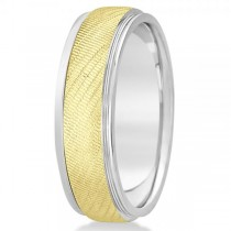 Men's Textured Inlay Wedding Ring Wide Band 14k Mixed Metal Gold 7mm