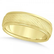 Men's Textured Inlay Wedding Ring Wide Band 14k Yellow Gold 7mm