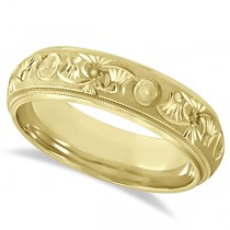 Hand Engraved Floral Wedding Ring in 18k Yellow Gold (6mm)