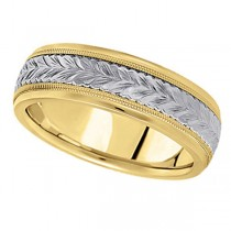 Hand Engraved Two Tone Wedding Band Carved Ring in 14k Gold(4.5mm)